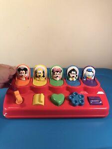 Mattel Disney Poppin Pals Pop Up Toy Mickey Mouse Minnie Donald Goofy Pluto Vtg