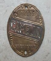 Vintage Bicycle Head Badge CAMELIA France Antique Cycles Bike French Brass