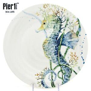 "Pier 1 Imports SEA LIFE - SEAHORSE 8.75"" Salad Plate Blue Green Watercolor"