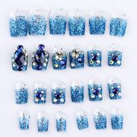 Nail Tips Full Cover False Nails Fingernail Nail Art Patch Rhinestones Crystal