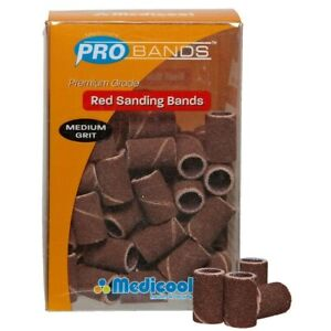 10 x Medicool Pro Band Acrylic Sanding Bands RED MEDIUM Grit (10 Boxes)