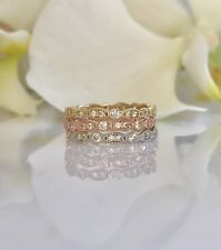 14k Solid Gold Diamond Eternity Band Stackable Ring Endless Wedding
