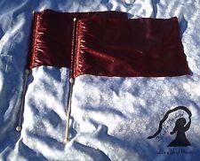 PRAISE Worship ~ Medium Pair DEEP RED METALLIC Lamé Rectangular FLAGs w/Poles ~