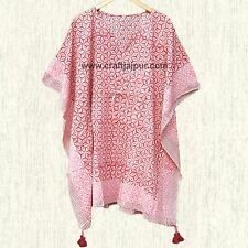 Women's Clothing Cotton Caftan Short Kaftan Hippie Plus Size Maxi Dress Poncho