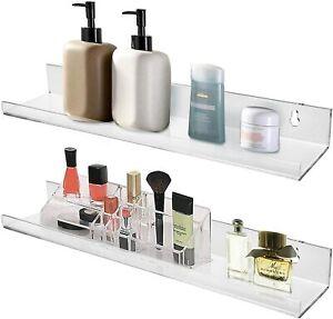 "15"" Clear Acrylic Floating Wall Mounting Bookshelf Bathroom Shelves (2 Pack)"
