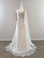 Destinations Ivory 1-Shoulder Beaded Wedding Dress w/Shawl -Size 12 NWT