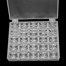 25 Clear Bobbins For Sewing Machine Plastic Spool Brother Janome Singer Box