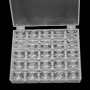 25 Clear Bobbins For Sewing Singer Plastic Spool Box Machine Brother Janome