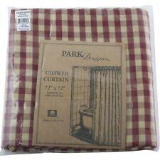 "Crochet Gingham Red Tan Check Shower Curtain Bathroom by Park Designs 72"" Bath"