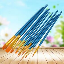 10Pcs Nylon Hair Round Pointed Acrylic Watercolor Tip Artists Paint Brush Set