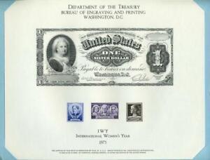 BEP 1975 IWY B31 Souvenir Folder with 1886 Martha Washington $1 Silver Cert Obv
