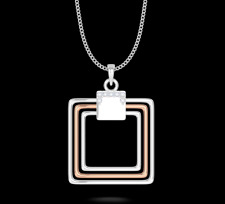 "IGI Certified ""ILLUSION"" Pendant Necklace Natural Diamonds 14K Rose & White Gold"