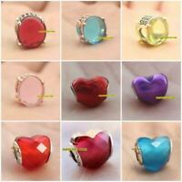 925 Sterling Silver Fuchsia Pink Green Oval Cabochon Charm Metallic Red Heart