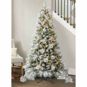 Pre-Lit Flocked & Glitter Artificial Christmas Tree, 6ft 6 Inches (1.9m)