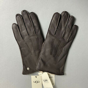 NWT UGG Mens M Medium Brown Leather Wrangell Gloves Lined Touchscreen NEW