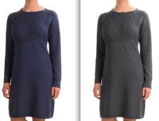 Ibex Arranmore Women's 100% Merino Wool Sweater Dress - Grey, Blue, Size Xl