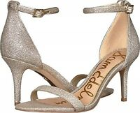 Women's Patti Ankle Strap Dress Sandal Heels LT Gold Mesh Size US 7M Sam Edelman