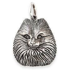 More details for solid sterling silver pomeranian dog pendant (handmade uk, also in gold)