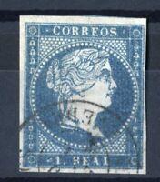 Sello de España 1855 Isabel II nº 41 Azul verdoso 1 real matasellado  ref.02