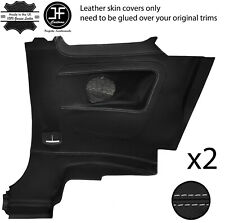 GREY STITCH 2X REAR FULL DOOR CARD TRIM LEATHER COVERS FITS FIAT 500 07-15