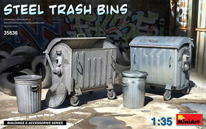 Miniart 35636 Metal Trash Cans Scale Plastic Model Kit 1/35
