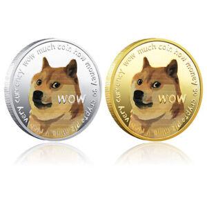 2X Dogecoin Coin Commemorative Coins Dog Souvenir Coin Silvery Gold