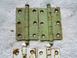 """2 ANTIQUE VINTAGE  2"""" x 2 7/8"""" CANNON BALL TIP CABINET DOOR HINGES, BRASS TONE"""