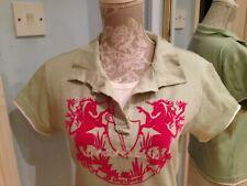 Ladies  mint green Pink LE COQ SPORTIF 100% Cotton + velvet Shirt Top Size UK 12
