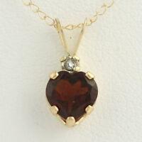 NEW Garnet Heart Pendant Necklace - 10k Yellow Gold Diamond Accent 0.89ctw
