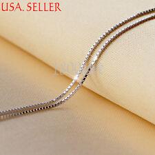 Men & Women's 925 Sterling Silver 24 inch 1.4mm Wide Box Chain Necklace E167