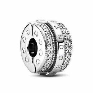 New Authentic Pandora Sparkling Pave Lines & Logo Clip Charm #799042C01 w/ Pouch