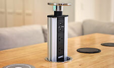 Stainless Steel Australian Power Point Pop Up Socket Plug USB Table Kitchen Desk