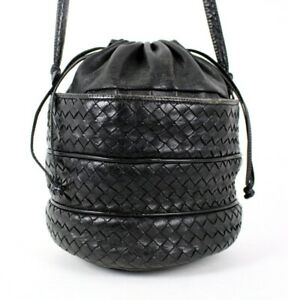 BOTTEGA VENETA Vintage Black Intrecciato Leather Drawstring Shoulder Bag