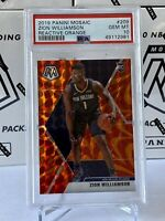 2019-20 Zion Williamson Panini Mosaic Reactive Orange Prizm Rookie #209 PSA 10