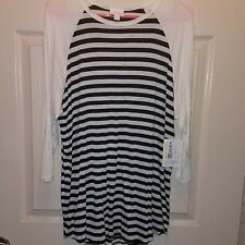 Lularoe striped white gray black randy xl