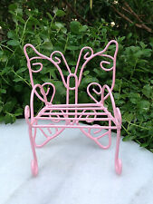 Miniature Dollhouse FAIRY GARDEN Furniture ~ Metal Pink Butterfly Bench Chair