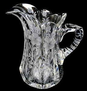 """LIBBEY SIGNED ABP CUT CRYSTAL INTAGLIO ETCHED FLORAL PANELED 8 1/2"""" PITCHER 1910"""