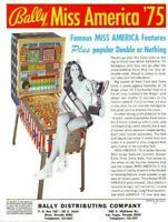 Miss America Pinball FLYER Original 1975 Lady Seated On Game Bally Artwork Sheet