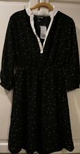 NWT Forever 21 Black polka dot with white trim dress size Small
