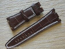 Brown 28mm High Quality Leather Strap Band White Stich For AP ROO 42mm watch