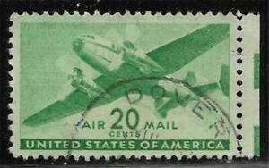 2v0642 Scott C29 US Air Mail Stamp 1941 20c Twin-Motored Transport Used