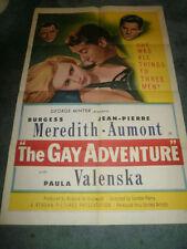 THE GAY ADVENTURE(1953)BURGESS MEREDITH ORIG 1SHEET+