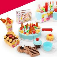 38Pcs Blue Pretend Role Play Kitchen Fine Toy Birthday Cake Food Cutting Set