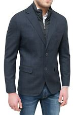 Elegant Men's Jacket Diamond Winter Grey Slim Fit Coat Blazer With Vest