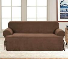 Sure Fit Soft Suede One Piece T-Sofa Slipcover Chocolate Brown Couch NEW