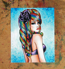 8x10 inch Signed Art Print Rainbow Hair Pin Up Pretty Colorful Pin Up Girl