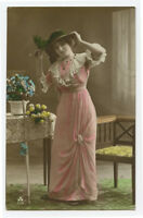 c 1910 Fashion Glamour YOUNG LADY FASHION Beauty Lady photo postcard