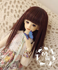 """New 3-4"""" Red Brown Long Straight Wig For 1/12 XAGA AE LATI BJD Hair"""