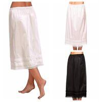 Women's Elastic Waist Slip Solid Lace Long Skirts Underskirt Petticoat Extender