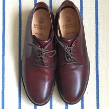 Brunello Cucinelli Burgundy Cordovan Leather Derby Shoes Size 45